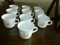 10 Retired Vintage Corelle Spring Meadow Wildflower Cups Mugs - Free Shipping!