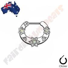 316L Surgical Steel Septum Clicker Ring with Clear Cubic Zirconia Gem Flowers
