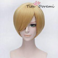 Halloween Wig Cosplay ONE PIECE Sanji blonde short party fashion Hair