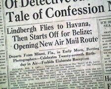 Aviator CHARLES LINDBERGH 1st Air Mail Panama AIRPLANE Flight 1929 Old Newspaper