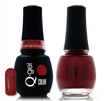 Gel & Polish QRS Beauty Combo MAT374 Ruby Pumps Red Sparkle Color