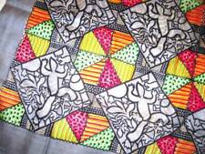 """Vintage Scarf 100% Silk 34"""" Sq Abstract Parchwork Gecko or Man Figure"""