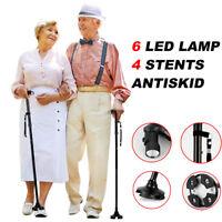 Walking Stick Cane LED Light Folding Height Foldable Free Standing Adjustable