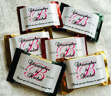 90 PERSONALIZED HIGH GLOSS MONOGRAM WEDDING FAVOR LABELS for CHOCOLATE SQUARES