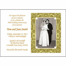 25 Personalized 50th Golden  Anniversary Party Invitations with Photo  - AP-016