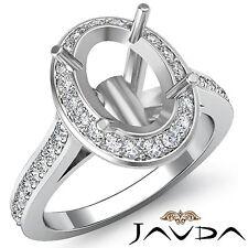 Diamond Engagement Ring 0.70ct Platinum 950 Oval Shape Semi Mount Halo Pave Set