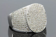 1.70 CARAT MENS GENUINE DIAMOND WHITE GOLD FINISH ENGAGEMENT WEDDING PINKY RING