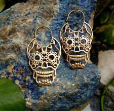 Large Tribal Ethnic Gypsy Boho Bellydance Skull Brass Earrings Antique Jewelry