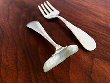 - FESSENDEN STERLING SILVER BABY FORK & PUSHER OR BIGELOW FAMILY 1921 HAMMERED