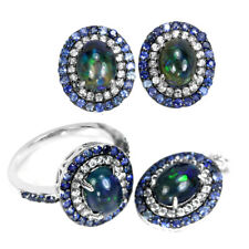 NATURAL AAA RAINBOW BLACK OPAL SAPPHIRE & CZ STERLING 925 SILVER SET SIZE 7.25