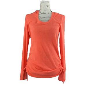 Maurices In Motion Top MED Waffle Knit Yoga Stretch Hood Athleisure Neon Coral