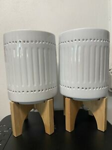 "Lamps Ceramic & Wood - Set of 2 - NEW - 13"" tall"