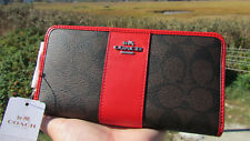 NEW COACH wallet $250 accordion zip signature red brown 54630 leather PVC classy