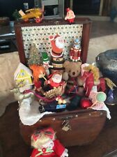 Lot of Vintage Christmas Ornaments in a wooden Treasure Chest