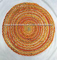 Yellow Indian Handmade Reversible Braided Rug Rag Floor Yoga Mat Door Mat Rugs