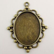 8X Vintage Bronze Tone Oval Lace Cameo Settings(40*30mm) Pendant 56*48*2mm