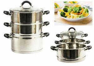 New 3 Tier 24cm Steamer Set Vegetable Food Steam Pot Set Glass Lid