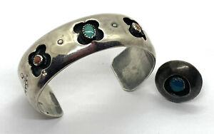 Vintage Sterling Native American Shadow Box Turquoise Coral Cuff Bracelet & Ring