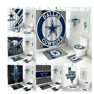 Dallas Cowboys Bathroom Rugs Set 4PCS Shower Curtain An-Skid Toilet Seat Cover