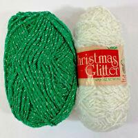 Lot 2 Caron Christmas Glitter Yarn White Green Worsted Weight Acrylic