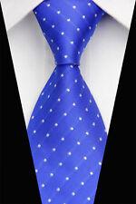 New Blue White Dot Classic JACQUARD Woven Silk Necktie Men's Tie  Bowtie
