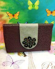 👀 ADD LIBB DESIGNS Florettes Biloba Fabric Leather bag Mauve Dot Vine Clutch