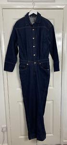 Zara Boiler Suit Size Medium Dark Indigo Denim Jumpsuit NEW WITH TAGS Blogger