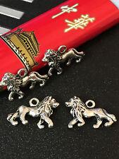 PJ0242 8pcs Tibetan Silver Charm Lion Accessories Wholesale