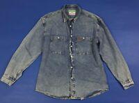 Wampum shirt camicia jeans XL uomo casual lunga blu usato vintage denim T2745