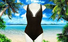 NEW GOTTEX brown cream 1 piece LACE FRONT LOW BACK BATHING SUIT SWIMSUIT Size 8