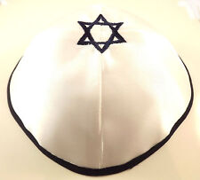 White Blue Star Of David Satin Yarmulke Kippah Jewish Kippa Hat Cupples Cap