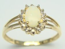 BESTJEWELLERY 10KT YELLOW GOLD NATURAL OPAL & DIAMOND RING  SIZE 7   R972