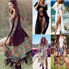 Women Loose Kimono Cardigan Long Top Blouse Boho Beach Bikini Cover Up Coat Plus