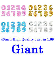 "40"" Giant Foil Number Helium Glitz Large Balloons Birthday Wedding Party Decor"
