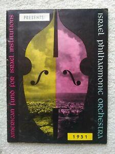 VTG ISRAEL PHILHARMONIC ORCHESTRA 1951 PROGRAM  KOUSSEVITZKY BERNSTEIN PHOENIX