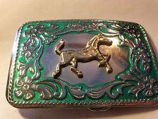Vintage Mirrored Horse in Green Trim Belt Buckle