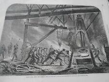 Gravure 1862 Usine de Abbel Desflassieux Atelier de roues pour chemin de fer