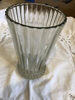 Vintage Clear Glass Vase Pleated Design With Scalloped Edges And Hobnail Bottom