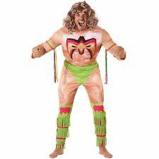 Licenced WWE Ultimate Warrior Wrestler Fancy Dress Costume Adult Wrestling Suit