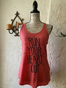The Nike Tee Dri-Fit Coral 'Run Your Heart Out' Training Running Tank Top Sz L
