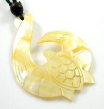 ELEGANT MAORI FISH HOOK MOTHER OF PEARL necklace; GA100
