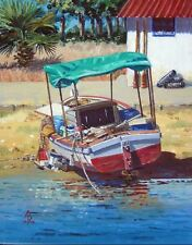 ALIX BAKER PCAFAS ORIGINAL Too darn' hot Fishing Sea boats Cyprus coast PAINTING
