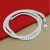 5Mm Frauen Der Männer Edelstahl Silber Twist Curb Gliederkette Halskette Q8P8