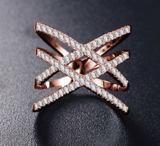 Ring Ringe Doppelring X Form Silber Rosegold Zirkonia Filigran Edelstahl Boho