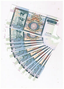 BURUNDI P 39d 10 X 1000 FRANCS 2006 COW UNC  CONSECECUTIVE NUMBERS