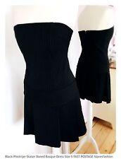 Black Pinstripe Boned Basque Skater Dress Size UK 8 EU 36 US 4 FAST��