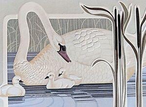 Harry Wysocki Print Swan Birds Kitschy 1980's Flea Market White Blue Vintage #1