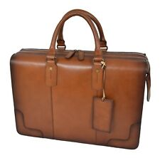 Doctors Briefcase Tan Italian Leather ZIPPED Frame File Case Business Laptop Bag