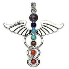 Natural 7 Colorful Stone Beads Reiki Chakra Healing Point Angel Wings