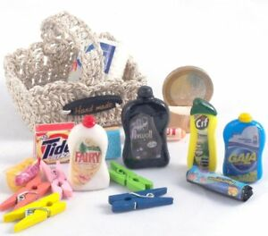 Dollhouse miniature Detergents kit bathroom kitchen 1:6 scale role playing games